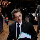 French President Nicolas Sarkozy arrives at a European Union summit in Brussels. REUTERS/Francois...