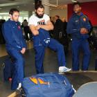 French rugby players Julien Dupuy (left), Sebastien Chabal and Fulgence Ouedraogo wait for their...