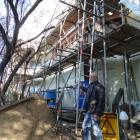 Friends of the Globe Theatre committee member Keith Scott is pleased with progress by Amalgamated...