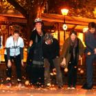 Fringe Festival movie-goers smash ceramic cups after a film in Dunedin last night. Photo: Peter...