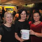 Frock Friday fundraising event organiser Bernadette Hyland (right) with Tracey Gamble (left) and...