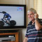 From his home in Dunedin, Roy Shanks watches his daughter, Alison Shanks, win the women's...