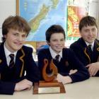 From left, John McGlashan College Year 11 pupils Duncan Wilson, Andrew Dysart and Nat Christensen...
