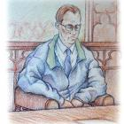 From the 1995 Bain trial. Drawing by Dave Burke.