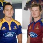 Fullback Israel Dagg (left) models the new home Highlanders jersey while outside back Kendrick...