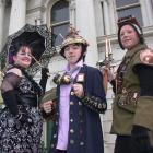 Fully Steampunked for a fashion show in Oamaru yesterday were (from left) Jacqui Wilkinson, of...