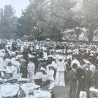 A crowd gathers in the Oamaru Gardens on February 2, 1905, the day Oamaru's Boer War monument was...