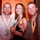 Gay Ski Week organisers Mike Sanford (left) and Craig Lawson with Carla Forbes at the opening...