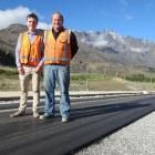 Gerard Bligh, of Remarkables Park Ltd (left), stands with Fulton Hogan construction supervisor...