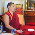 Geshe Nyima Dorjee leads prayers at the Dhargyey Buddhist Centre on Saturday during a worldwide...