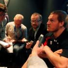 Gethin Jenkins attends a Wales news conference in Auckland yesterday. REUTERS/Jacky Naegelen