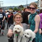 Melinda Gibbs, her dogs Sammy and Wookie, and daughter Maxine Buswell-Gibbs (17), all of Green...