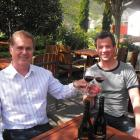 Gibbston Valley Winery chief executive Greg Hunt and winemaker Chris Keys toast their award...