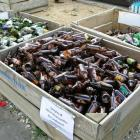 Glass-recycling bins in Alexandra. Photo by <i>ODT</i> files.