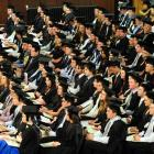 University of Otago graduates attend the graduation ceremony in the Dunedin Town Hall on Saturday...