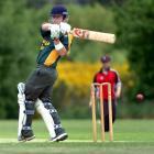 Green Island's Scott Simpson plays a pull shot during his team's Dunedin senior club cricket...