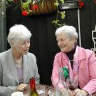 Green Party co-leader Jeanette Fitzsimons (left) talks with supporter Kate Stanton in Auckland...