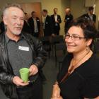 Green Party co-leader Metiria Turei chats with Otago Chamber of Commerce member Tony Williams....