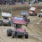 Greg Clemence (Christchurch)  leads the field during the final race at the Sprintcar Rockfest at...