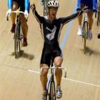 Greg Henderson celebrates after winning the scratch final at the 2004 world championships in...