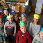 Halfmoon Bay School junior pupils with the crowns they have made for Prince Harry's visit on...