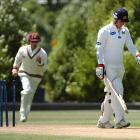 Hamish Rutherford (Otago) walks off after being dismissed first ball by Trent Boult (ND) at the...