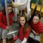 Hands-on East Gore School pupils Gina-Maree Nicholl (10, left), Shania Cleland (11) and Tayla...