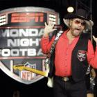 "Hank Williams Jr. performs during the recording of a promo for ESPN's broadcasts of ""Monday Night..."