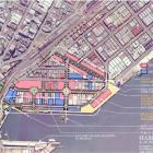 The Dunedin harbour viewed from the air with the plans for a 50-year development overlaid.