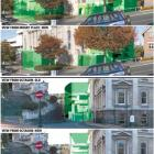 An indication of the reduced size of the proposed Town Hall extensions, showing the bulk of...