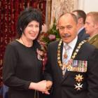 Heather Paterson receives the Queens Service Medal for services to fashion from the Governor...