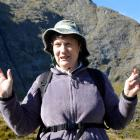 Helen Clark on the Harris Saddle, on the Routeburn Track, to inspect predator traplines yesterday...