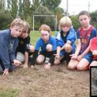 Hereweka football players Jack Campbell, James Le Comte, Josephine Tarasiewicz, Charlie Le Comte,...