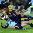 Highlander's Fetu'u Vainikolo against the Waratahs in the Super 14 Rugby match at Rugby Park...