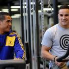 Highlanders Aaron Smith (left) and Tamati Ellison celebrate their selection in the All Blacks...