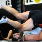 Highlanders captain Jamie Mackintosh takes part in a jiujitsu session at Grace Gym in Dunedin...