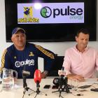 Highlanders coach Jamie Joseph and general manager Roger Clark speak at a press conference in...