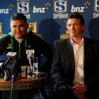 Highlanders coach Jamie Joseph (left)  and chief executive Roger Clark answer media questions at...
