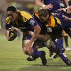Highlanders forward Steven Setephano makes a charge for the line. Credit:NZPA/RugbyImages, Jo Caird.