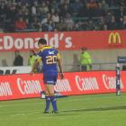 Highlanders halfback Aaron Smith walks off after being given his marching orders by referee Chris...