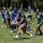 Highlanders players train at Logan Park yesterday. Photo by Gregor Richardson.