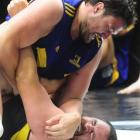 Highlanders props Clint Newland (top) and Bronson Murray grapple for supremacy during an...