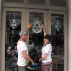 Holiday Bling artists Ryan Caldwell and Bridie-Rose O'Leary in Queenstown yesterday. Photo Olivia...