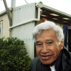 Hone Tuwhare outside his the Kaka Point home in 2004. Photo by Stephen Jaquiery.
