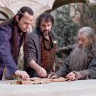 Hugo Weaving (L), director Peter Jackson (C) and Ian McKellen are seen on the set of 'The Hobbit:...