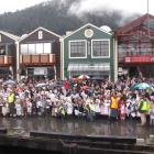 Hundreds gathered on Steamer Wharf and around Queenstown Bay to welcome  TSS Earnslaw to its home...