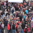 Hundreds of people pack into the Oamaru Farmers' Market minutes after it opened yesterday. Photo...