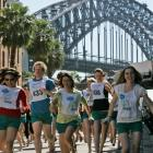 Hundreds of women and a few men dash for the finish line in the stiletto sprint at Sydney's...