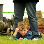 Hunter Evans (4) of Mataura waits to see the tractors.