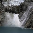 Ice from the Hualcan glacier falls into lake Laguna 513, at more than 13,000 feet above sea level...